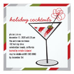 Red White Cocktail Martini Holiday Party Invite
