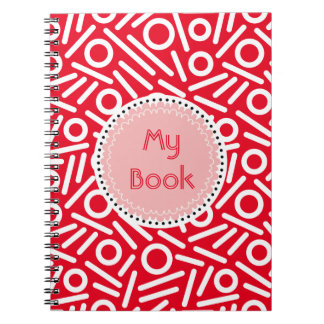 Red white Color seamles monogram Pattern notebook