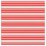[ Thumbnail: Red & White Colored Pattern of Stripes Fabric ]