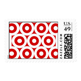 Red White Concentric Circle Stamp