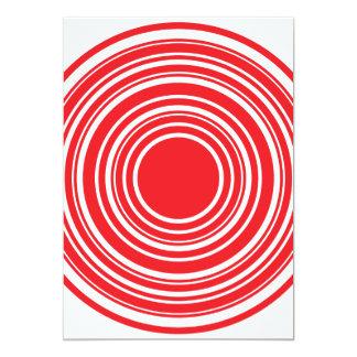 Red White Concentric Circles Bulls Eye Design 5x7 Paper Invitation Card