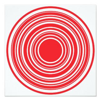 Red White Concentric Circles Bulls Eye Design 5.25x5.25 Square Paper Invitation Card