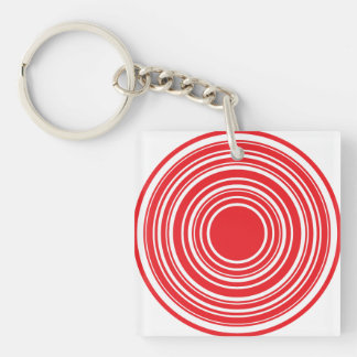 Red White Concentric Circles Bulls Eye Design Keychain