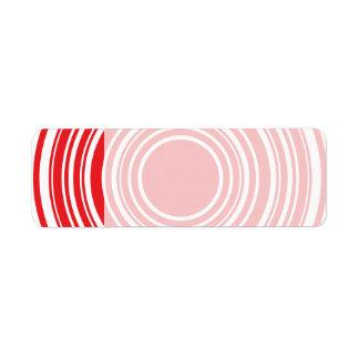 Red White Concentric Circles Bulls Eye Design Label