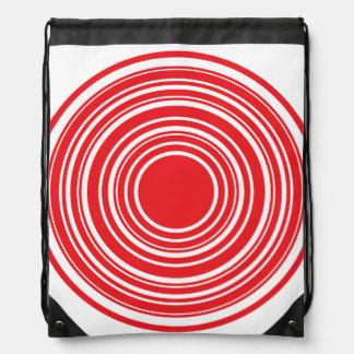 Red White Concentric Circles Bulls Eye Design Backpacks