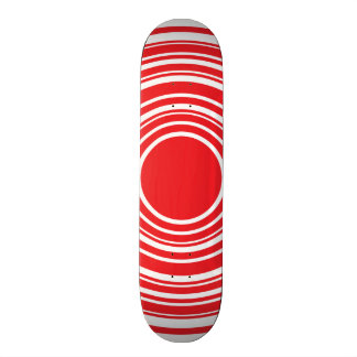 Red White Concentric Circles Bulls Eye Design Skateboard Deck