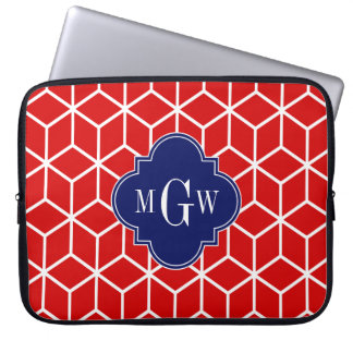 Red White Cubes, Navy 3 Initial Monogram Laptop Sleeve