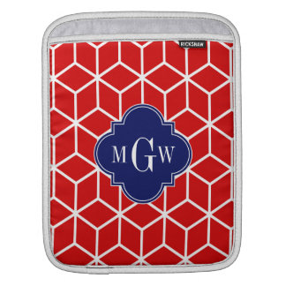 Red White Cubes, Navy 3 Initial Monogram Sleeve For iPads