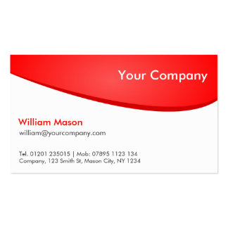 Red White Curved Professional Business Card