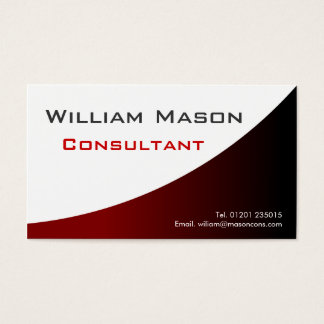Red White Curved, Professional Business Card