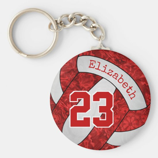 red white custom girls volleyball team colors keychain