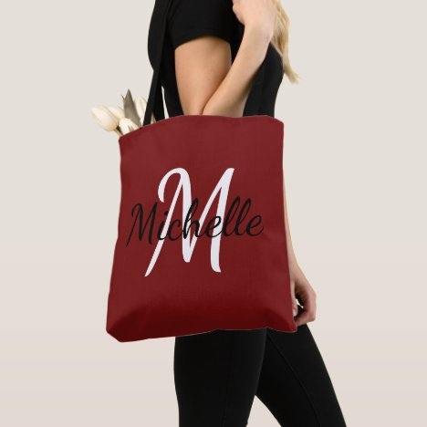 Red & White Custom Monogram Tote Bag
