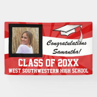 Red/White Custom Photo Graduation Sign Banner