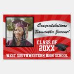 Red/White Custom Photo Graduation Yard Sign