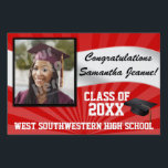 "Red/White Custom Photo Graduation Yard Sign<br><div class=""desc"">Congratulations to the class of (your year). Customize this personalized yard banner sign with your graduate&#39;s photo,  name,  year and school or other custom text. Red and white high school or college colors.</div>"