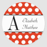 Red & White Customize Last and First Name Sticker