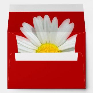 Red & White Daisy Envelope with Return Address
