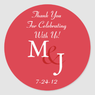 Red & White Daisy Wedding Favor Labels w/ Text
