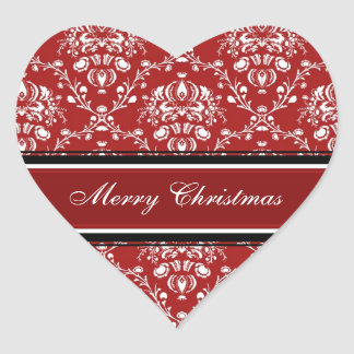 Red White Damask Merry Christmas Stickers