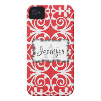 Red & White Damask Monogram iPhone 4/4s iPhone 4 Cover