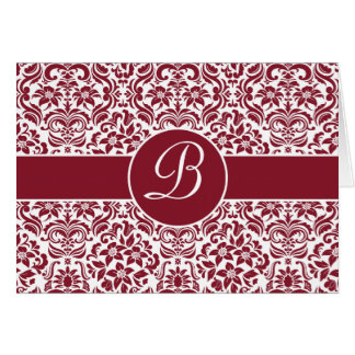 Red & White Damask Personalized Card with Monogram Card