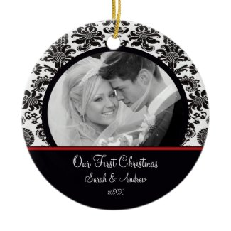 Red & White Damask Photo First Christmas Ornament ornament