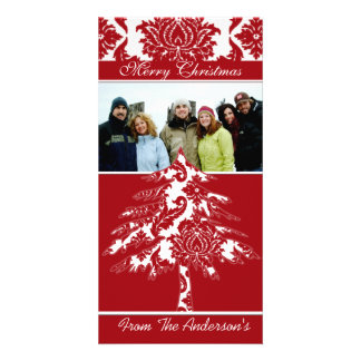 Red & White Damask Pine Holiday Family Pictures Card
