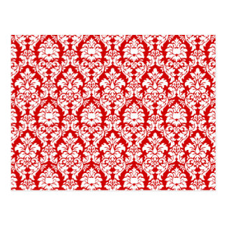 Red & White Damask Post Card