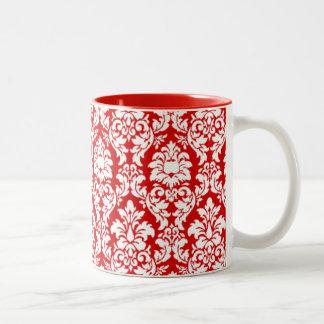 Red & White Damask Two-Tone Coffee Mug