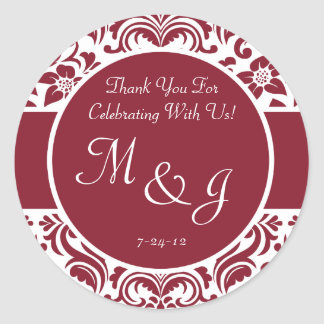Red White Damask Wedding Favor Label or Gift Tag Round Sticker
