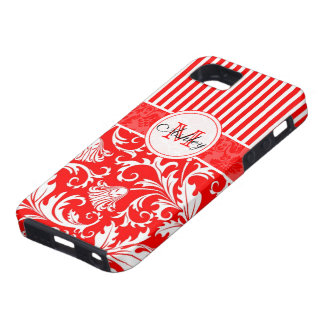 Red & White Damasks 2 & Stripes Pattern Customized iPhone 5 Cover