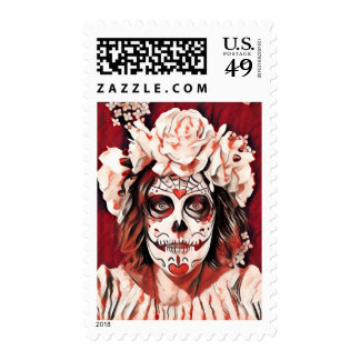 Red & White Day of the Dead Skeleton Woman Stamp