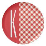 Red & White Diagonal Gingham. Dinner Plates