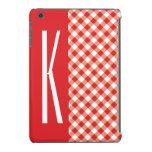 Red & White Diagonal Gingham. iPad Mini Covers