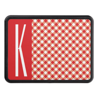 Red & White Diagonal Gingham. Tow Hitch Cover