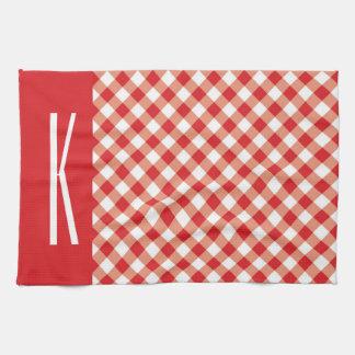 Red & White Diagonal Gingham. Towel