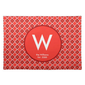 Red White Diamond Monogram Pattern Cloth Place Mat