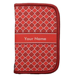 Red White Diamond Pattern Sleeves Folio Planner