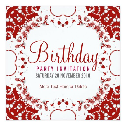 Red White digi-Lace Party Birthday Invitation