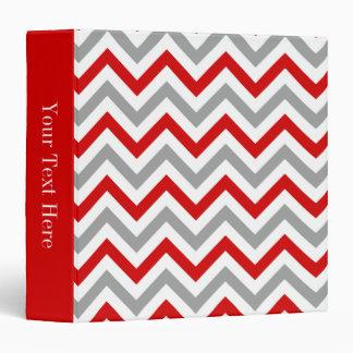 Red, White, Dk Gray Large Chevron ZigZag Pattern 3 Ring Binder