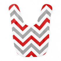 Red, White, Dk Gray Large Chevron ZigZag Pattern Baby Bib