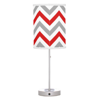 Red, White, Dk Gray Large Chevron ZigZag Pattern Lamps