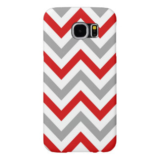 Red, White, Dk Gray Large Chevron ZigZag Pattern Samsung Galaxy S6 Case