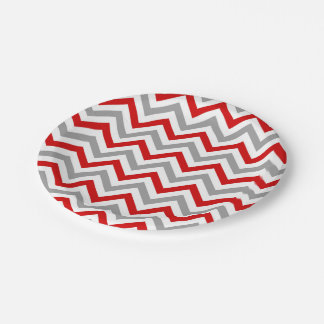 Red, White, Dk Gray Large Chevron ZigZag Pattern 7 Inch Paper Plate