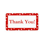 Red & White Dots Custom Thank You Sticker Labels Custom Address Labels