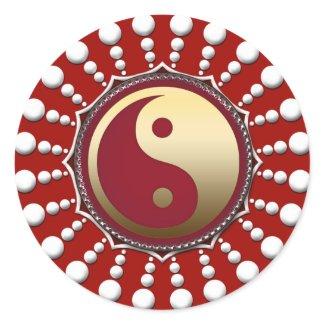 Red&White Dots Golden Yin Yang Sticker zazzle_sticker