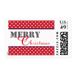 Red & White Dots - Postage Stamp