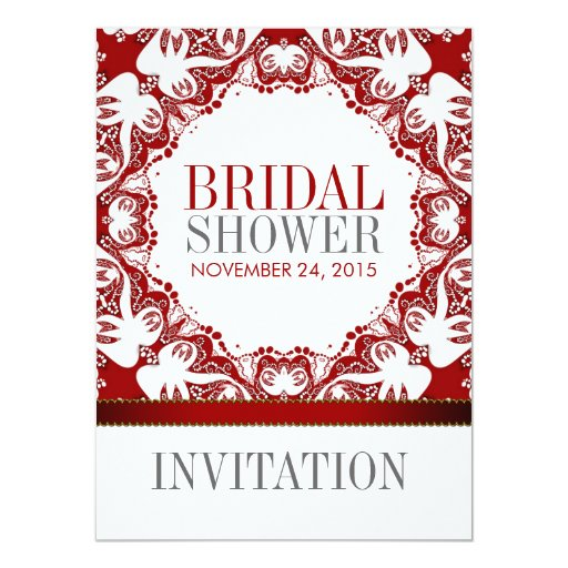 Red White Doves Batik Bridal Shower Party Invitati Card