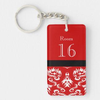 Red white dragon keychain