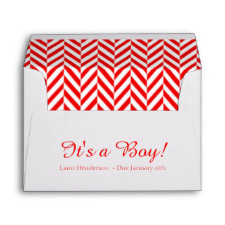Red White Due Date Baby Shower Envelopes